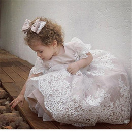 Wholesale Cheap Girls Shirts Shorts - 2017 Cute Lace Appliques Ball Gown Flower Girl Dresses Crew Neck Cheap Little Girls Wedding Party Gowns Custom Made