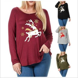 Wholesale Plus Size Christmas Shirts - T Shirts Christmas Plus Size Shirts Women Xmas Casual Tops Fashion Female Loose Blouse Long Sleeve Print Blusa Roupas Women's Clothing B3575