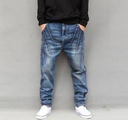 Wholesale Harem Jeans Sold - best selling new Men's Hip hop Jeans Loose Harem Baggy Tapered Pants Trousers Fashion Stylish men jeans pants