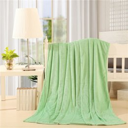 Wholesale Fleece Textiles - Home textile summer solid color super warm soft blankets throw on sofa bed  travel bed clothes Towels can be as bed sheet Blanket