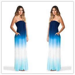Wholesale Dress Long Chiffon Strapless Sheath - Cocktail Dresses Sexy Women Long Maxi Strapless Cocktail Evening Party Gown BOHO Beach Dresses Elegant Chiffon Empire Red Carpet Dresses
