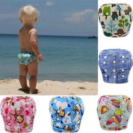 Wholesale Baby Swim Diaper - Baby Swim Diaper Pant Washable Reusable One Size Breathable Cover Reusable Pants Infant Toddler Nappy 0-3 Years 10 Colors