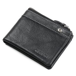 Wholesale Trifold Men Wallet - hot sale high quality cowhide genuine leather purse fashion designer casual trifold multi function zipper leather men wallet