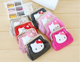 Wholesale Cute Pink Wallets - Hello Kitty cartoon coin purse cute little wallet mini coin bag hasp bag a package of mail