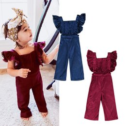 Wholesale Overalls Girls Kids - Fashion Kid Baby Girls Clothes Flying Sleeves Ruffles Backless Velvet Overalls Romper Jumpsuit Playsuit BibPants Toddler Outfits Set