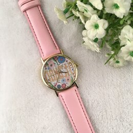 """Wholesale Advertising Watch - Fashion Indian Style """"namaste"""" Floral Printing Bracelet Wristwatches Quartz Dress Watches Ladies Watch 5Colors advertising gifts"""