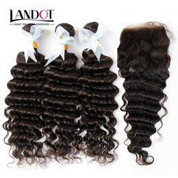 Wholesale Deep Wavy Virgin Hair - Indian Deep Wave Virgin Human Hair Weaves With Closure Unprocessed Deep Curly Wavy Hair 3 Bundles And Lace Closure Free Middle Part 4X4Size