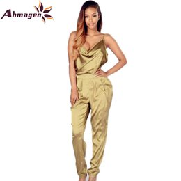 Wholesale Wholesale Satin Rompers - Wholesale- Sexy Backless Satin Rompers Womens Jumpsuit 2016 Summer Women One Piece Bandage Jumpsuits Night Club Playsuit Full Bodysuits