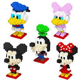 Wholesale Nano Mouse - 5pcs Lot Mini LNO 7.5cm Box Kawaii Big Head Mouse Nano 3D Plastic Puzzle Cartoon Model Children Gift Toys Educational Blocks