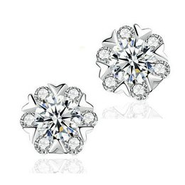 Wholesale Gold Snowflake Stud Earrings - Snowflake Crystal Earrings For Women 925 Sterling Silver Jewelry White Gold Overlay CZ zircon Wedding Stud Earring For Ladies and Girl