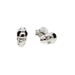 Wholesale Skull Polish - 925 Sterling Silver cute 4*7mm delicate mini small tiny skull studs high quality polished girl women jewelry earring 925