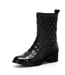Donne rivetti diamante a tacco basso stivali reticella inverno nuovo arrivo classico lusso moda marchio genuino in pelle signore pelle di pecora sexy avvio caldo da