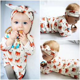 Wholesale Nightdresses Cotton - Girl fox dress set animals costumes headband lovely nightdress newborn baby girls dress skirt kid clothes long sleeve animals costumes 0-18M