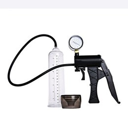 Wholesale Silicone Penis Pumps - Male Hand Drive Penis Pump Enlarger Enlargement With Master Pressure Gauge Extension For Male Help Penis Extender Sex Toys