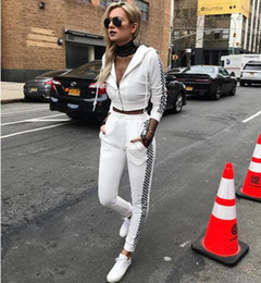 Wholesale Two Color Cardigan Sweater - 2017new Women Casual Sportswear Sport jogging Suits Two- Pieces tracksuits Fashion plaid hooded sweater cardigan jacket coat and Sweatpants