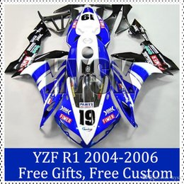 Wholesale Custom Painted R1 Motorcycle Kits - For Yamaha 2004 2005 2006 YZF-R1 Custom Painting Motorcycle Fairing kit 04 05 06 YZF R1 Blue black Motorcycle Faring Set Cheap with gifts