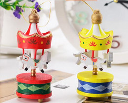Wholesale Tree Children - New Merry Christmas Wood Carousel Horse Ornaments Mini Xmas Children Gift Toys New Year Christmas Gifts Pendant