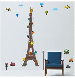 Wholesale Large Paris Wall Decals - Romantic Paris Eiffel Tower Height stickers Beautiful Kids Height Wall Stickers Wallpaper Art Decor Mural Room Decal