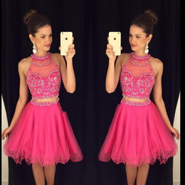 Wholesale Real Image Beaded Mini Dress - Sexy Two Pieces Short Homecoming Prom Dresses 2017 Backless Beaded Real Photos Transparent Tulle High Neck 8th Grade Graduation Dress
