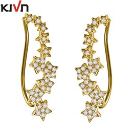 Wholesale Long Earring For Ears - KIVN Fashion Jewelry Stars Pave CZ Cubic Zirconia Long Ear Cuff Ear Crawler Climber Gold Earrings for Women mothers day gifts Christmas gift