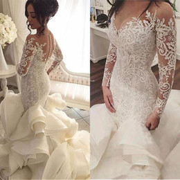 Wholesale mermaid trumpet wedding gowns - vestido de noiva Long Sleeves Wedding Dresses with Sheer Neck Vintage Mermaid Appliques Lace Tulle Bridal Gowns