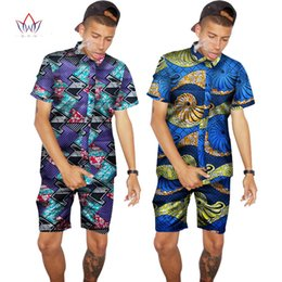 Wholesale Wax Prints Fashion - Wholesale- Custom Traditional African Clothing Summer Men Short Sleeve Shirts Print Fashion African Style Wax Tops Mens Clothing WYN96