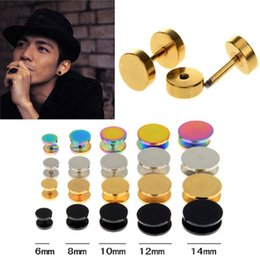 Wholesale Wholesale Stainless Steel Tunnels - Fake Ear Plug Stud Stretcher Ear Tunnel Earring Stainless Steel Body Piercing Jewelry 6-14mm Black Silver Gold Colorful