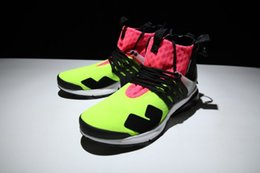 Wholesale Red Hot Hard - New ACRONYM x Air Presto Mid ZIP Mens Running Shoes Sportswear vibrant Hot Lava Volt Sports Shoes
