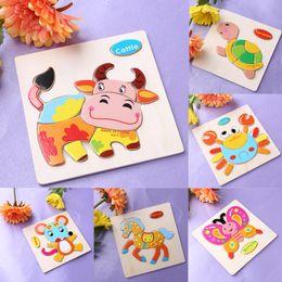 One Set Kids Jigsaw Puzzle Cartoon Animals Dimensional Puzzle Force Niños Jigsaw Puzzle de madera Educación para niños Juguetes de aprendizaje desde fabricantes