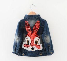 Wholesale Children Clothing Girls Denim Jacket - 2016 New Girls Jackets Children Clothing Outerwear&Coats Long Sleeve Cartoon Rabbit Sequins Washed Denim Jackets,jeans wear