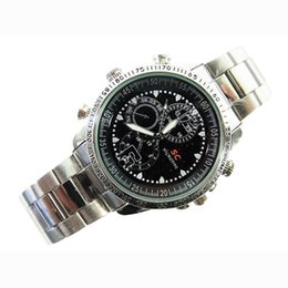 Wholesale Spy Watch Stainless - Free Shipping Wholesale 8GB SC Stainless Steel Waterproof Spy Watch Camcorder DV Pinhole Camera Digital Video Recorder 640*480