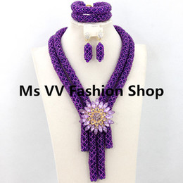 Wholesale chunky rhinestone bracelets - Elegant purple bridal Nigerian Wedding african Crystal Beads Jewelry Set 2 Chunky Layers Costume Jewelry Set aristocratic temperament