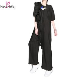Wholesale Wide Leg Pleated Chiffon Pant - 2017 Summer Women Pleated Tassels Craft Chiffon Wide Leg Pants Female Boho Jumpsuit Ladies Romper Black Sexy Woman Playsuit