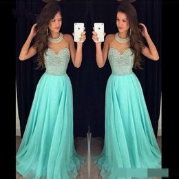 Wholesale Sexy Elegant Jackets For Dresses - Elegant Halter Long Prom Dresses Zipper Back A-line Formal Evening formal Gowns Beaded Chiffon Special Occasion Dresses for Party Wear