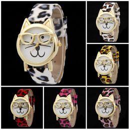 Wholesale Dresses Cats Women - Quartz watch Cute Glasses Cat Analog Quartz Dial Wrist Ladies Watches Women Gift Fashion Brand Women Dress Leather Watches
