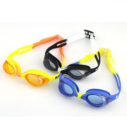 Wholesale Glass Swimming - Swimming Goggles Summer Colorful Silicone Watertight Anti-Fog Children Kids Swimming Goggles Eyewear Swim Glasses