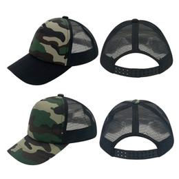 Wholesale Fits Kids - Fashion Kids Child Baby Plain 5 Panels Trucker Hats Camouflage Baseball Caps Curved Bill Hat Fitted Boy Hat