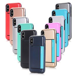 Wholesale Dual Phone Case - Newest Dual Layer Armor coque Phone Back Cover Case with Slide Card Holder for Iphone X