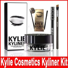 Wholesale Gel Eyeliner Brown - Kylie Cosmetics Birthday Limited Edition Eyeliner Kit and gel liner Dark Bronze Black brown chameleon colors 1 set=eyeliner+brush+cream