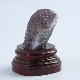 Wholesale base energy - 207g Wholesale Pure Natural Amethyst Crystal Cluster healing chakra Reiki spirit energy stones Free shipping with base