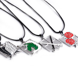 Wholesale Attack Titan Swords - 2017 Argent alloy punk Attack on Titan Guarding Rose necklace Enforcement horn crusader Sword pendant Wings of Liberty unicorn necklace x187