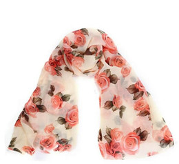 Wholesale Womens Long Scarves Cotton - JECKSION Rose Scarf Womens 2016 Fashion Voile Long Stole Scarves Shawl Scarf Ladies HJIA783