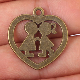 Wholesale Jewellery Wholesale Findings - Free shipping 6pcs lot Antique Bronze heart Charms couple Charms jewellery pendant Diy Finding 26x27mm jewelry making DIY