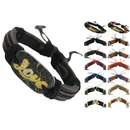 Wholesale Handmade Leather Bracelets Men - love sign genuine leather bracelet adjustable black brown wholesale lots surfer chain hot men women handmade wristband unisex bangle (DJ093)