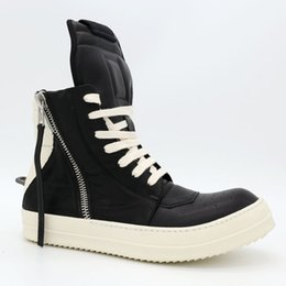 Wholesale Small Boot Heel - Big tongue small black and white inverted triangle hook main fashion trend for men and women couple boots Dark TPU soles milk shoes