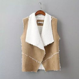 Wholesale Fake Leather Vest - 2016 Fashion Autumn Winter Women Suede Leather Faux Fur Vest Jacket Lady Fall Sleeveless Open Front Fake Fleece Wasitcoat