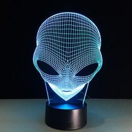Wholesale Halloween Alien - 2017 Alien E.T. 3D Optical Lamp Night Light Night Light AA Battery DC 5V Colorful 3D Lamp