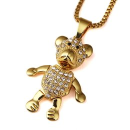 Wholesale Diamond Star Pendant Necklace - High quality 18K Gold Plated mens Hip hop lovely Bears Star Iced Out necklace Rapper Golden Pendants kings Box Chain Necklace Men