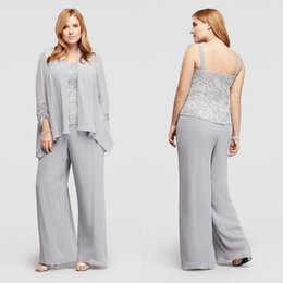 Wholesale Latest Jacket Zippers - Latest 2016 Silver Chiffon And Lace Spaghetti Mother Of Bride Pant Suits Cheap Long Sleeve Jacket Three Piece Plus Size Custom Made EN7272