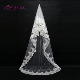 Wholesale Organza Veils - Wholesale-Wowbridal Graceful Bridesmaid Wedding Veil 2016 Lace Pattern Embroidered Crystal Beaded Organza Long Bridal Accessories